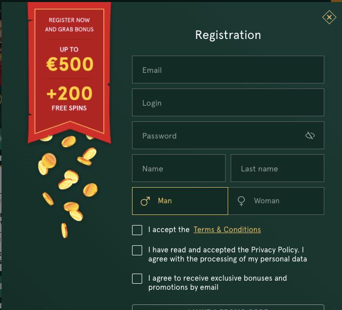 Casinia registration