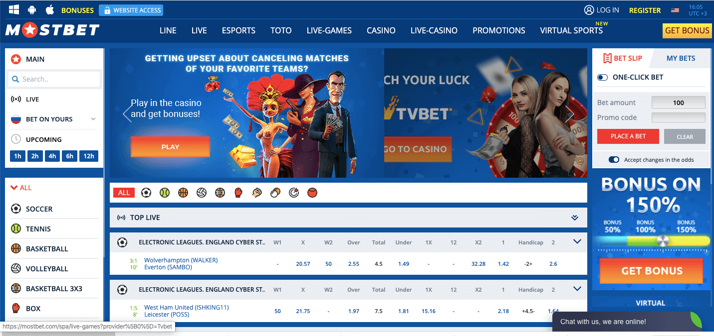 MostBet homepage