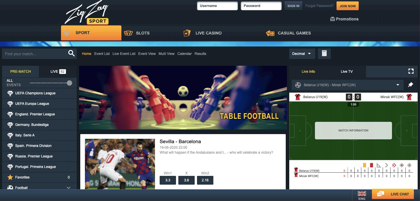 ZigZag Sports Screenshot