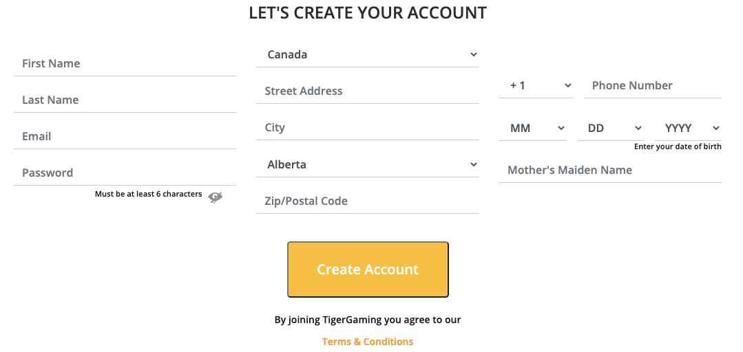 TigerGaming Register