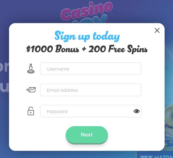 Casino Joy Register