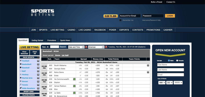 SportsBetting.ag Screenshot