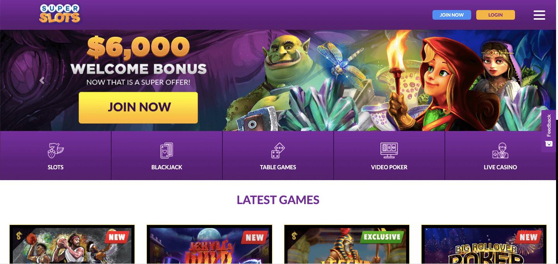 SuperSlots.ag Casino Screenshot